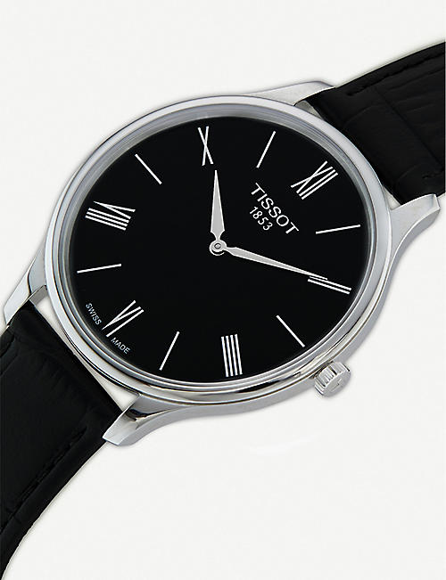 TISSOT T063.409.16.058.00 Tradition stainless steel and leather quartz watch