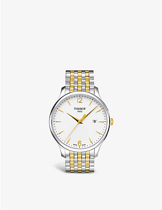 TISSOT: T0636102203700 Tradition stainless steel and gold PVD watch