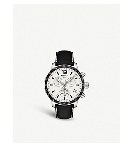 Quickster Men'S Quartz Chronograph Black And Silver Dial Watch, 42Mm in Black/ Silver