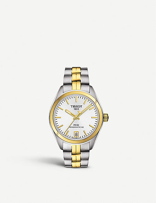 TISSOT T1012072203100 PR 100 Powermatic stainless steel yellow gold automatic watch