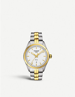 TISSOT: T1012102203100 PR 100 stainless steel and gold watch