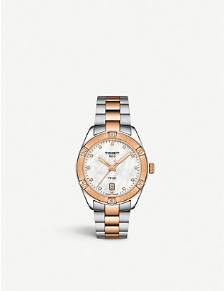 TISSOT: T1019102211600 PR 100 Sport Chic stainless steel, rose-gold PVD and diamond watch