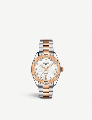 TISSOT T1019102211600 PR 100 Sport Chic stainless steel, rose-gold PVD and diamond watch