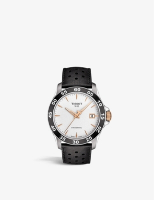 TISSOT T106.407.26.031.00 Swissmatic stainless steel, rose gold PVD and leather watch
