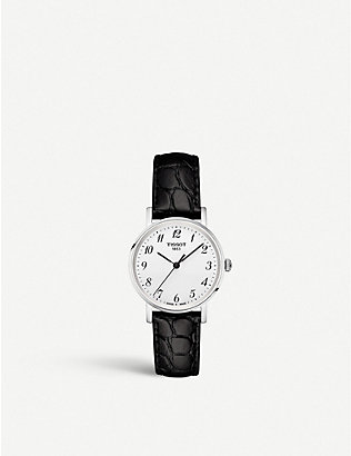 TISSOT: T109.210.16.032.00 Everytime stainless steel and leather watch