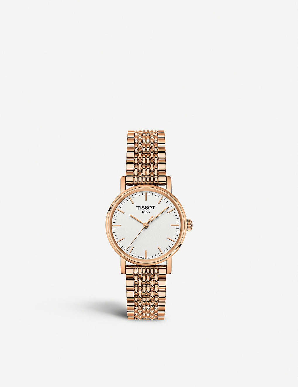 TISSOT: T1092103303100 Everytime rose-gold plated stainless steel quartz watch