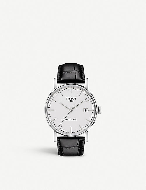 TISSOT: T109.407.16.031.00 Everytime Swissmatic stainless steel and leather watch