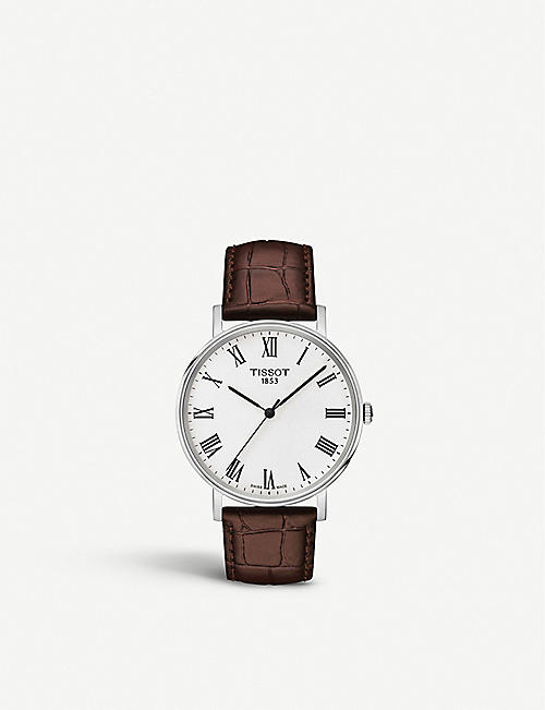 TISSOT: Everytime stainless steel and leather watch