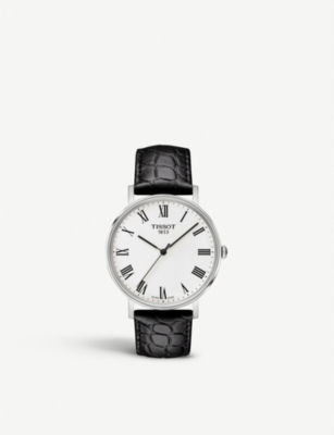 TISSOT Everytime stainless steel and leather watch