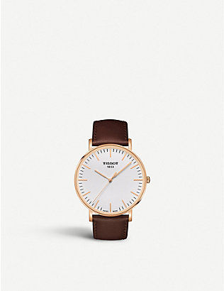 TISSOT: T109.610.36.031.00rose gold-plated stainless steel and leather watch