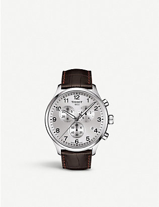 TISSOT: T1166171603700 Chrono XL Classic stainless steel and leather strap watch