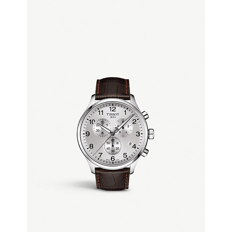 TISSOT T1166171603700 Chrono Xl Classic Stainless Steel And Leather Strap Watch in Brown