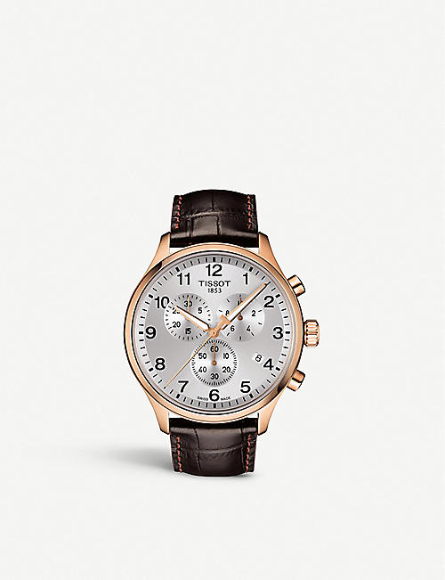 TISSOT: T1166173603700 Chrono XL Classic rose gold-coated stainless steel and crocodile-embossed leather strap watch