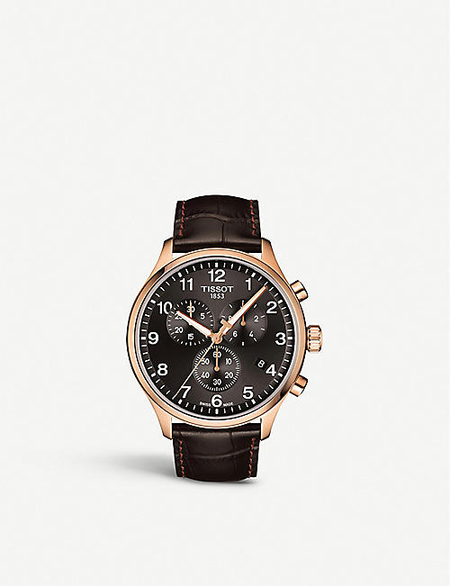 TISSOT T1166173605701 Chrono XL Classic rose gold-coated stainless steel and crocodile-embossed leather strap watch