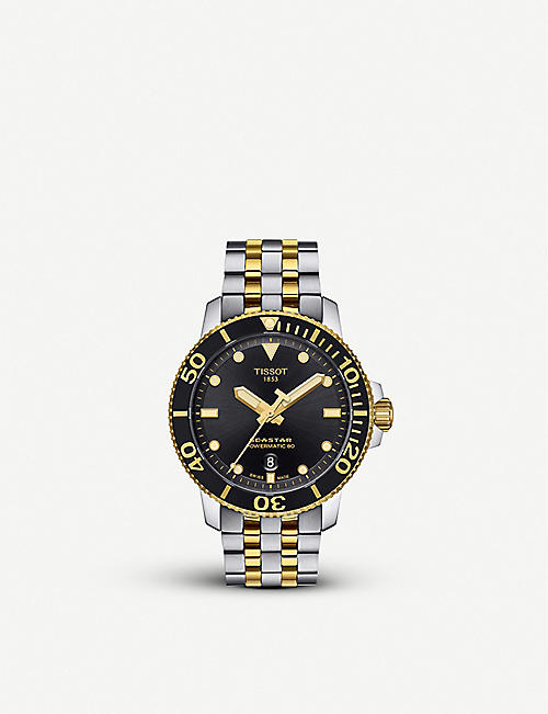 TISSOT: T120.407.22.051.00 Seastar 1000 stainless steel and yellow-gold PVD watch