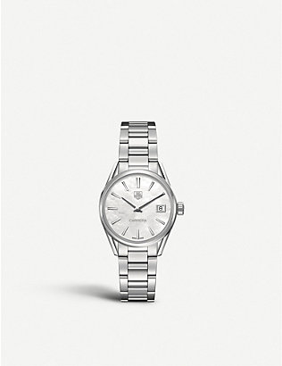 TAG HEUER: WAR1311.BA0778 Carrera stainless steel and mother-of-pearl watch