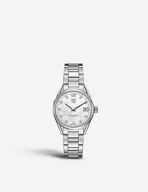 TAG HEUER: War1314.ba0773 Carrera stainless steel and mother-of-pearl watch
