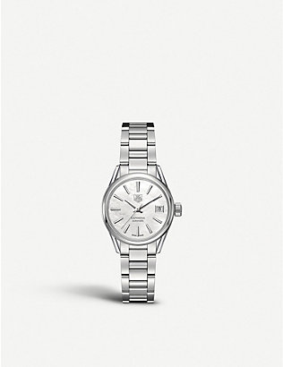 TAG HEUER: WAR2411.ba0770 Carrera stainless steel and mother-of-pearl watch