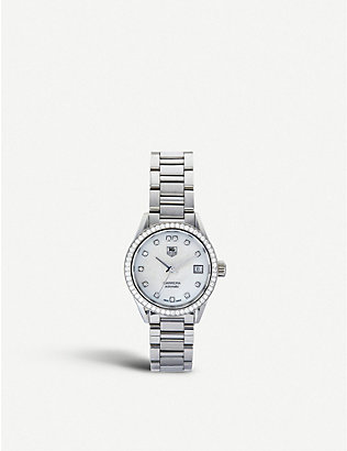 TAG HEUER: WAR2415.ba0770 Carrera stainless steel, mother-of-pearl and diamond watch