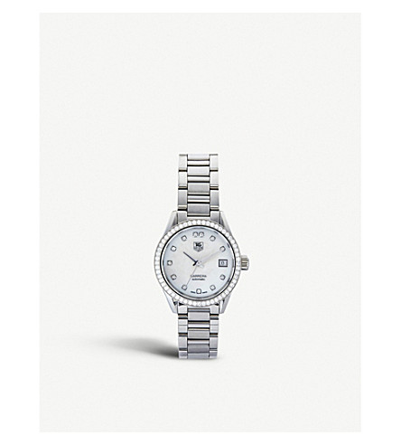 Tag Heuer WAR2415.ba0770 Carrera stainless steel, mother-of-pearl and diamond watch