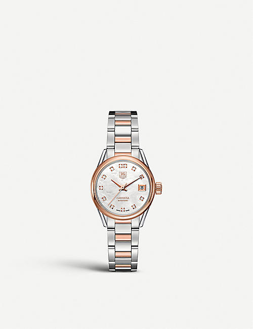 TAG HEUER: WAR2452.bd0772 Carrera stainless steel, mother-of-pearl and diamond watch