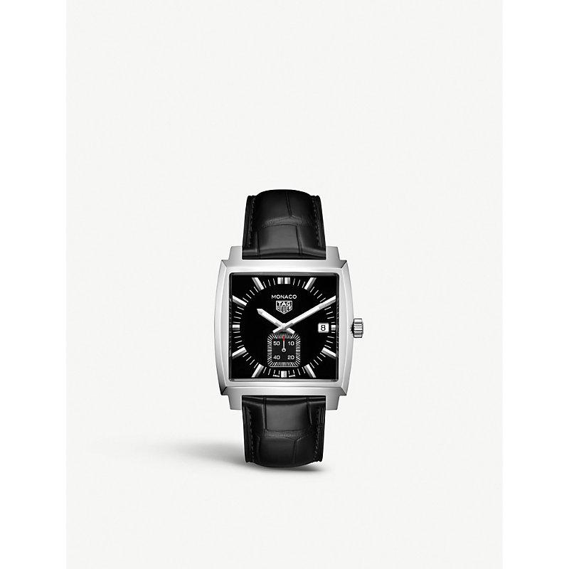TAG HEUER | WAW131A.FC6177 Monaco Quartz Stainless Steel Alligator Strap Watch | Goxip