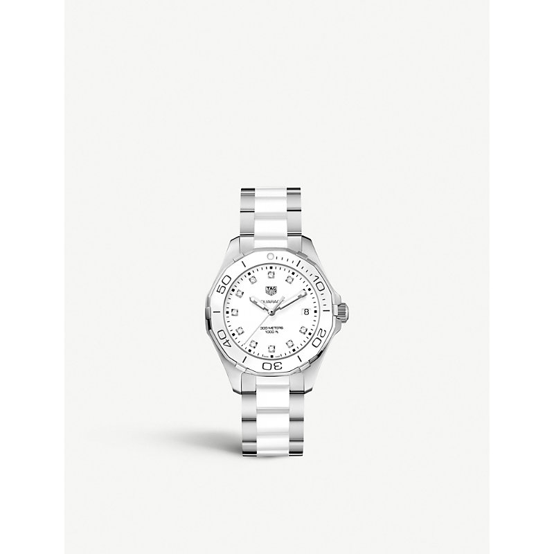 TAG HEUER | WAY131D.BA0914 Aquaracer Stainless Steel, Ceramic And Diamond Watch | Goxip