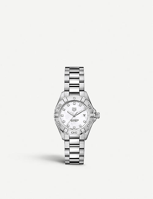 TAG HEUER: WBD1414.BA0741 Aquaracer diamond, mother-of-pearl and steel watch