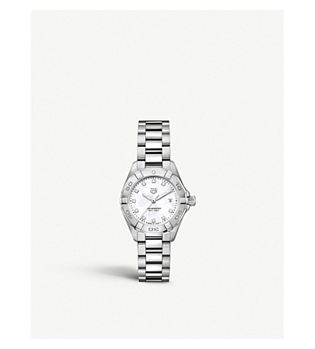 Tag Heuer WBD1414. BA0741 AQUARACER DIAMOND, MOTHER-OF-PEARL AND STEEL WATCH