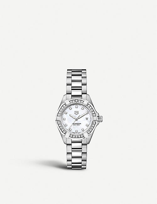 TAG HEUER: WBD1415BA0741 Aquaracer stainless steel, diamond and mother-of-pearl watch