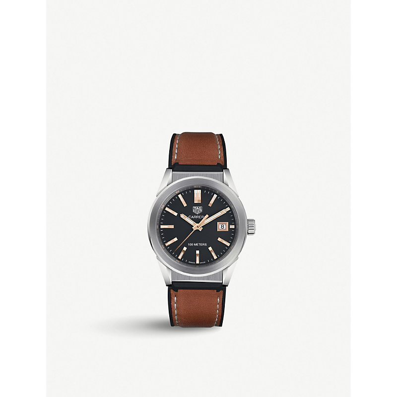 TAG HEUER | WBG1311.FT6116 Carrera Stainless Steel And Leather Watch | Goxip