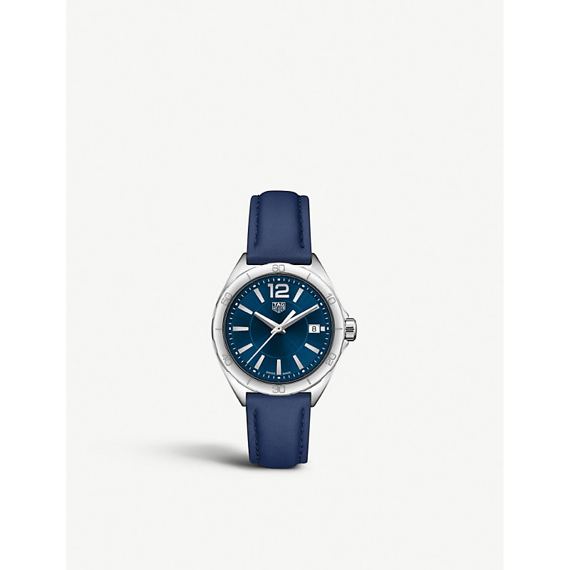 TAG HEUER | WBJ131.2FC8231 Formula 1 Stainless Steel And Leather Strap Watch | Goxip