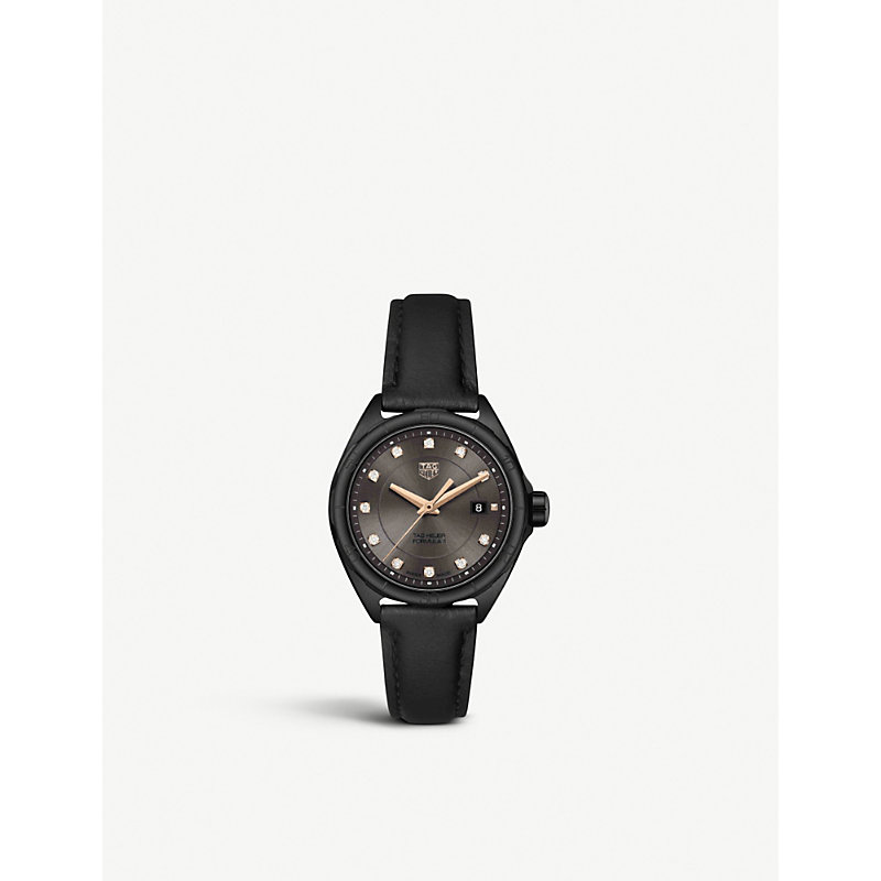 TAG HEUER | WBJ1417.FC8234 Formula 1 PVD Steel And Leather Watch | Goxip
