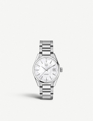 TAG HEUER WBK1311.BA0652 Carrera stainless steel and mother-of-pearl watch