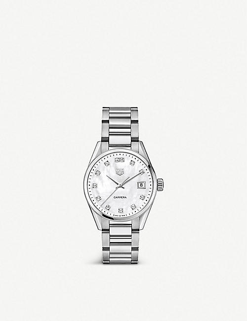 TAG HEUER: Carrera 36mm stainless steel and crystal watch