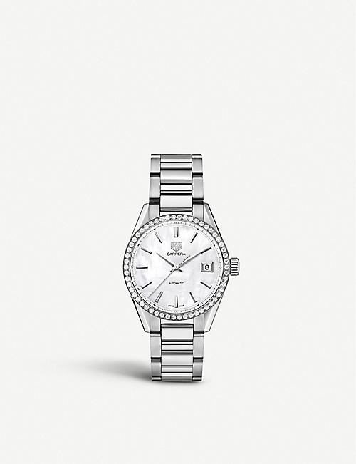 TAG HEUER: WBK2316.BA0652 stainless steel, diamond and mother-of-pearl watch