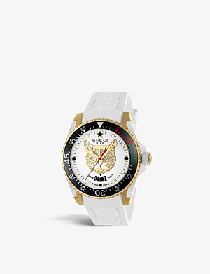 6402dffa0b3 GUCCI - YA126332 G-Timeless alligator-leather and stainless steel ...
