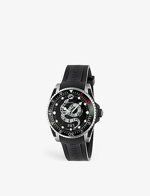 GUCCI YA136323 Dive stainless steel and leather watch