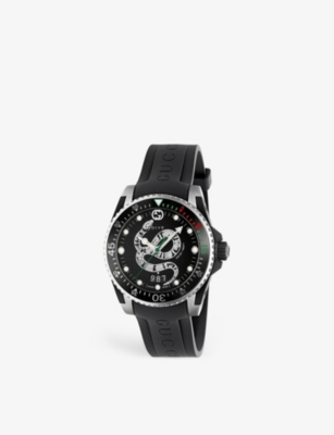 GUCCI YA126347 G-Timeless stainless steel and leather watch
