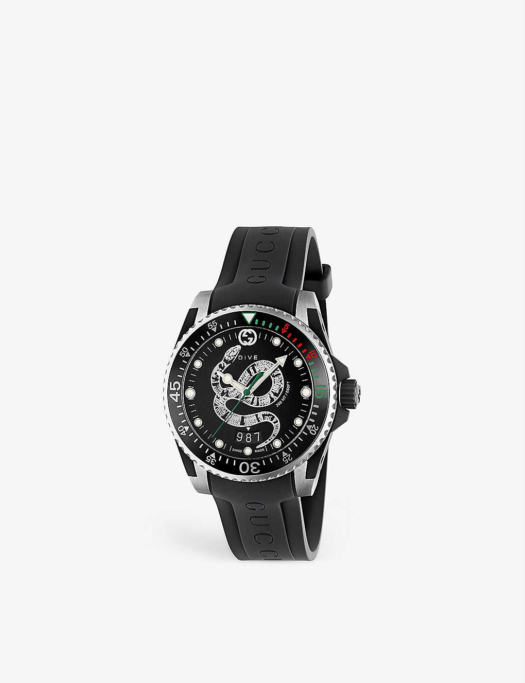 GUCCI: YA136323 Dive stainless steel and leather watch