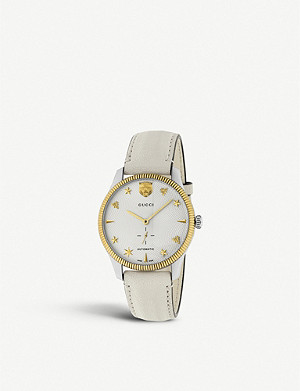 GUCCI YA126348 G-Timeless steel and leather watch