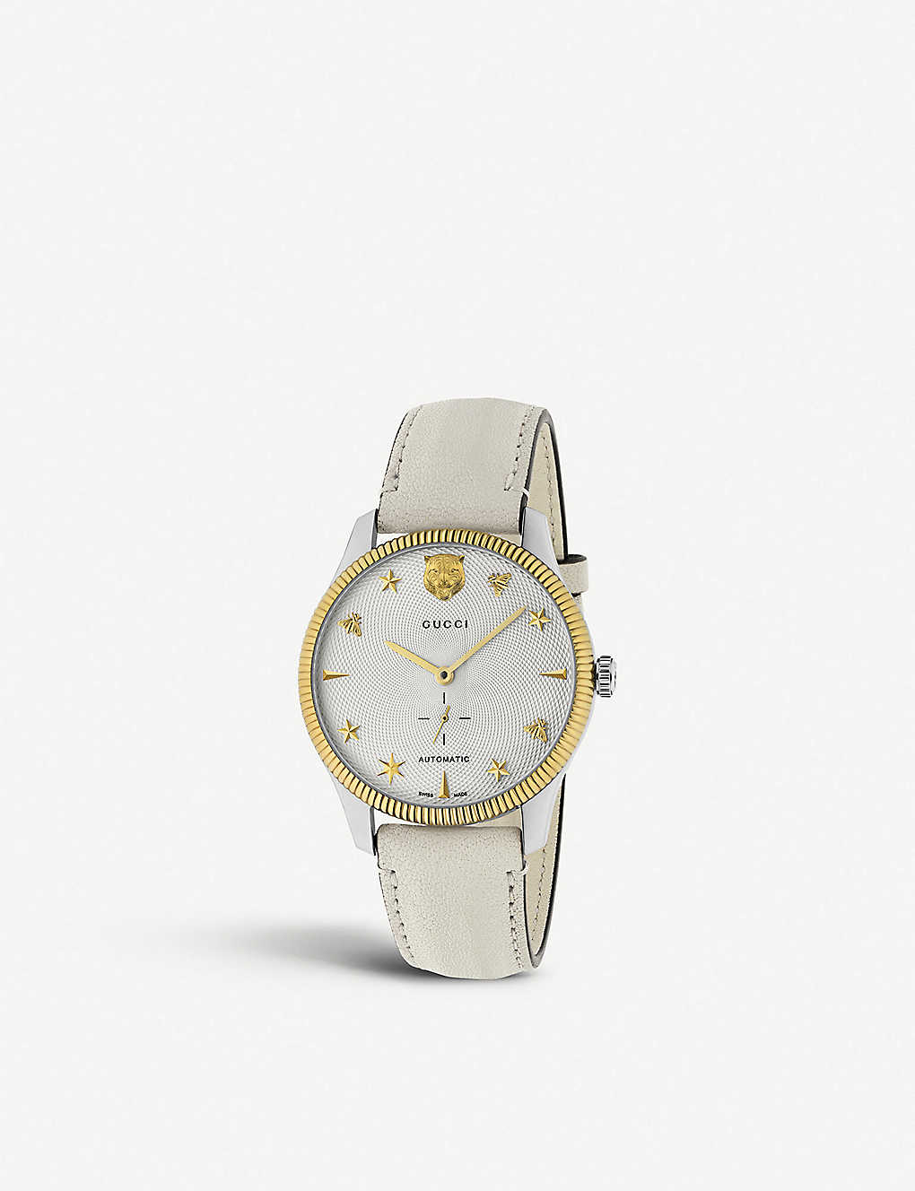 GUCCI: YA126348 G-Timeless steel and leather watch