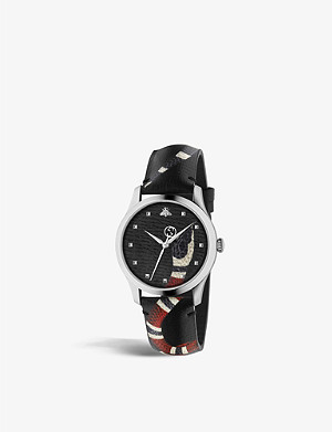 GUCCI YA1264007 Le March? Des Merveilles stainless steel and leather watch