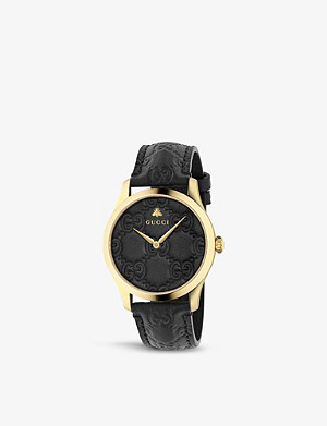 GUCCI YA1264034 G-Timeless Signature yellow gold-plated stainless steel and leather watch