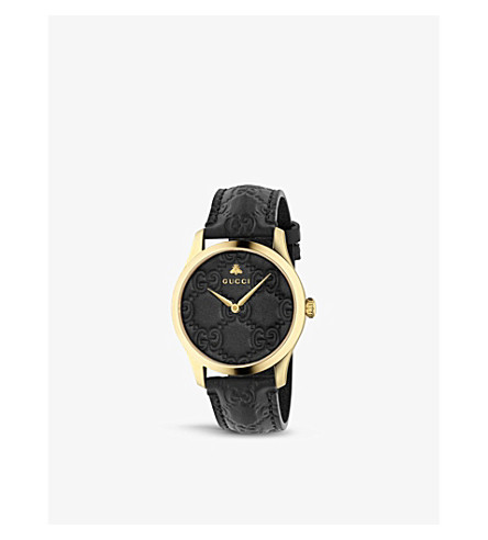 4f07befc1f9 GUCCI YA1264034 G-Timeless Signature yellow gold-plated stainless steel and leather  watch