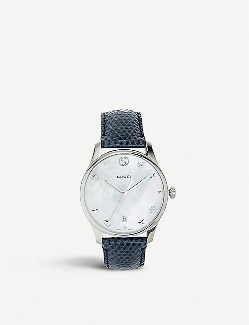 10c6499d0a0 GUCCI YA1264049 G-Timeless mother-of-pearl and lizard-leather strap quartz