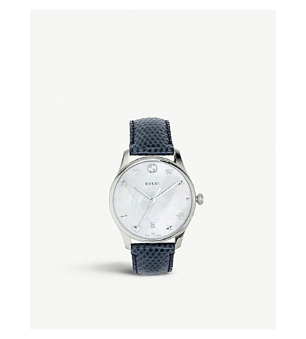 80a39519457 GUCCI YA1264049 G-Timeless mother-of-pearl and lizard-leather strap quartz  watch