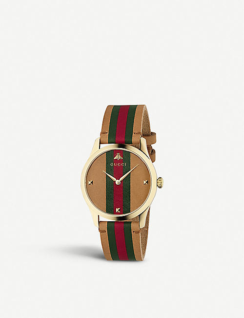 GUCCI YA1264077 G-Timeless leather and gold-plated watch
