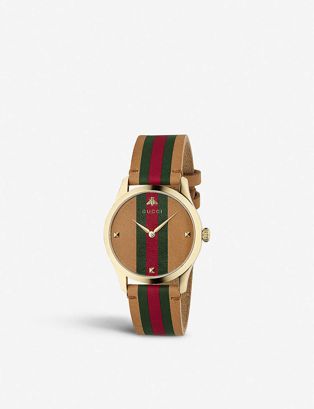 GUCCI: YA1264077 G-Timeless leather and gold-plated watch