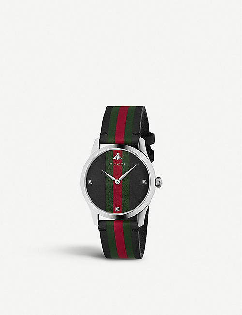 GUCCI: YA1264079 G-Timeless leather and stainless steel watch